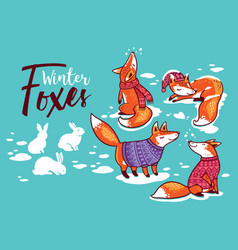 collection of cartoon foxes in cozy sweaters vector image vector image