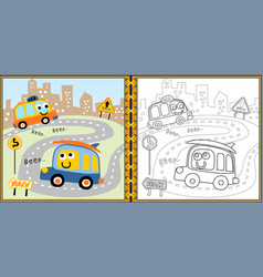 coloring book or page with funny vehicles cartoon vector image