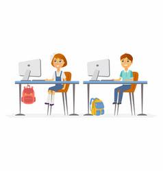 Computer studies - junior school children vector