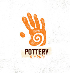 Craft art pottery workshop for kids hand print vector