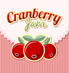 Cranberry jam label with title on striped vector