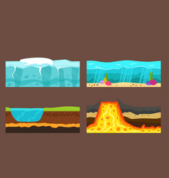Cross section of ground volcano vector