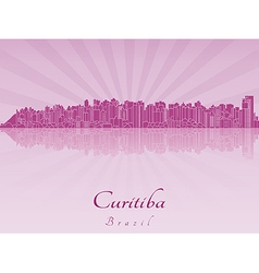 Curitiba skyline in purple radiant orchid vector