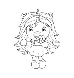 Cute baby unicorn holding flower coloring page vector