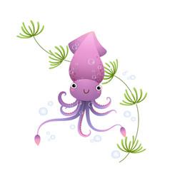 cute cartoon squid in sea vector image