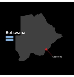 Detailed map of Botswana and capital city Gaborone vector image