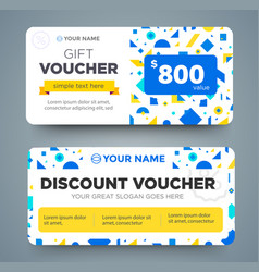 discount voucher template with colorful pattern vector image