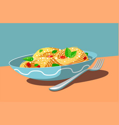 dish with tasty meal and fork vector image