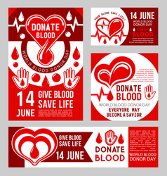 donate blood medical banners with red heart vector image