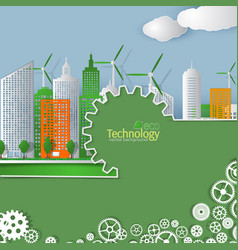 Eco technology cover template cityscape vector