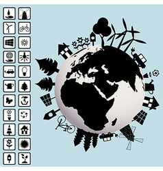 Ecological concept with Earth and environment vector image