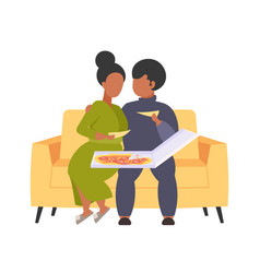 Fat obese man woman sitting on couch eating pizza vector