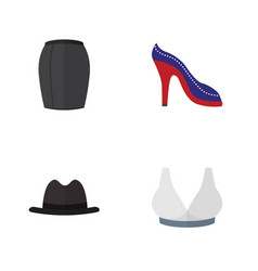 flat icon clothes set of panama brasserie heeled vector image
