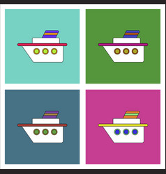 Flat icon design collection ship silhouette vector