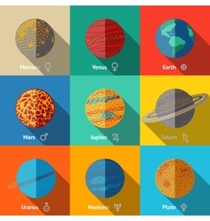 Flat icons set planets with names and vector image