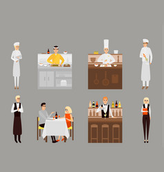 flat icons set restaurant team and vector image