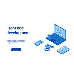 front end development blue template vector image