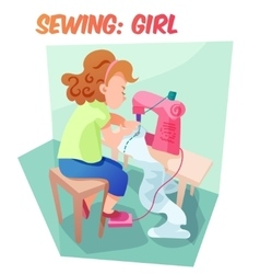 Funny girl sewing at machine vector image