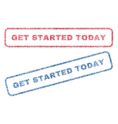 Get started today textile stamps vector
