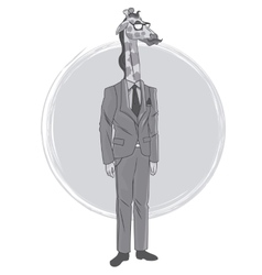 Giraffe fashion animal hipster white and grey vector