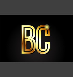 Gold alphabet letter bc b c logo combination icon vector