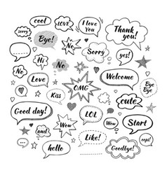 handwriting set of speech bubbles with dialog vector image