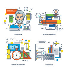 Help desk mobile learning time management vector