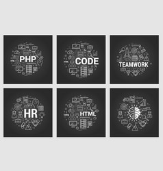 Html and teamwork - six square black concepts vector