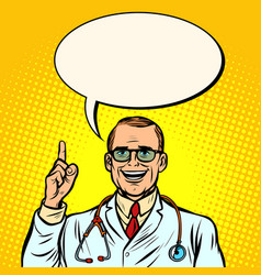 joyful male doctor medicine and health vector image