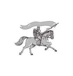 Knight Riding Horse Shield Lance Flag Retro vector image