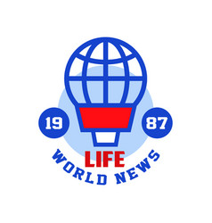 life word news estb 1987 logo social mass media vector image