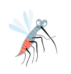 little amusing and funny flying humorous mosquito vector image