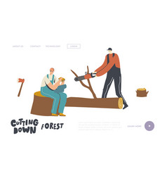 Loggers cutting trees landing page template vector