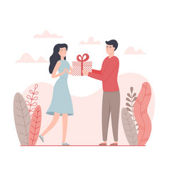 Man give a present to a woman for valentines day vector