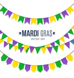Mardi Gras traditional flags set isolated on white vector