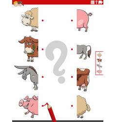Match halves pictures with farm animals vector