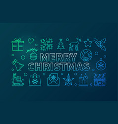 merry christmas colored thin line vector image