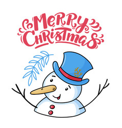 merry christmas greeting card with funny snowman vector image
