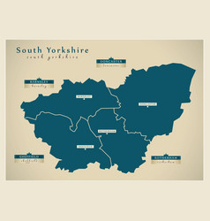 Modern map - south yorkshire metropolitan county vector
