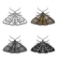 moth icon in cartoon style isolated on white vector image