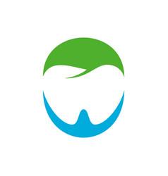 negative space dental care blue green symbol vector image