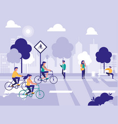 people in road street isolated icon vector image