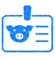Pig badge icon grunge watermark vector
