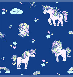 pink unicorns on the navy blue seamless pattern vector image