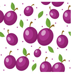 Plums seamless pattern plum endless background vector