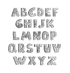 Positive gray alphabet for children isolated vector