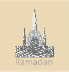 Ramadan celebration vintage engraved vector