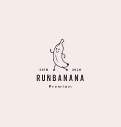 running banana logo hipster vintage retro icon vector image
