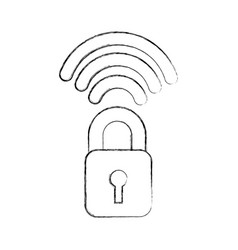 Safe secure padlock with wifi signal vector