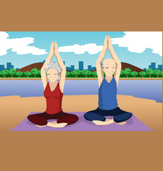 senior couple doing yoga exercise vector image
